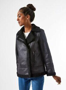 Women's Ex Dorothy Perkins Black shearling aviator jacket Coats RRP £55