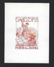 Vtg Ex Libris JOSE CARLOS PEREIRA ROCHA metal worker Print Bookplate PORTUGAL