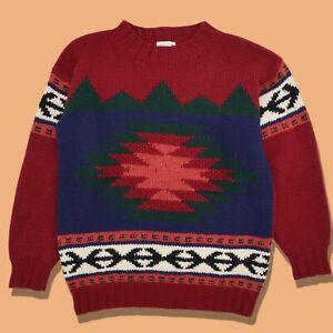 Vintage Marsh Landing wool Aztec Pattern Hand Knit Shetland Wool Sweater Sz S