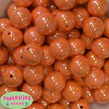 20mm Orange AB Finish  Acrylic Miracle Bubblegum Beads Lot 20 pc Chunky