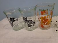 3 Vintage Welchs Tom and Jerry Sabrina witch w/Veronica bottom Jelly Glass Jars