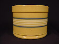RARE 1800s BUTTER CROCK BLUE and WHITE BANDS YELLOW WARE