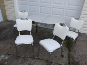Vintage Mid Century Gray Formica Chrome Dining Kitchen table vinyl white chairs