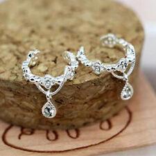 Silver Women Ear Wrap Cuff Rhinestone Crystal Clip on Earring Jewelry 1pc