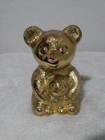 Leonard Silverplate Vintage Teddy Bear and Cub Coin Piggy Bank Baby Gift Golden