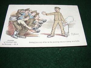 VINTAGE POSTCARD ART WW I F MACKAIN SKETCHES OF TOMMY'S LIFE TRAINING No 3 LITHO