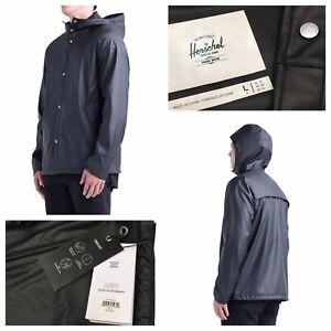 Herschel Supply Mens Hooded Coach Rain Jacket Black Size L Waterproof NEW £90