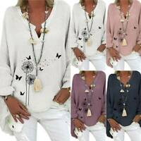 Plus Size Women's V-Neck Floral Tops Blouse Loose Baggy Pullover Midi T-shirt