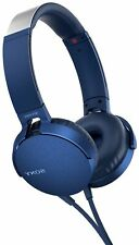 Sony Blue Extra Bass Wired Stereo On Ear Headphones with Microphone
