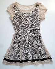 Anthropologie NWT Maitland Lace Dress by Weston Wear Lace Over Black Slip - SZ S