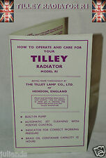 TILLEY LAMP HEATER R1 FOLD OUT INSTRUCTIONS AND DIAGRAMS LEAFLET