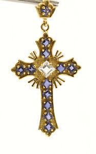 18k Yellow Gold Amethyst Ornate Cross