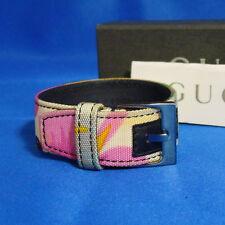 Auth GUCCI Multicolor Canvas Bangle Bracelet 17.5cm/6.9inch Vintage Italy in Box