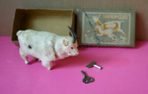 Japan Vintage KSK Wind-Up Walking Goat With Original Box Works 1950s
