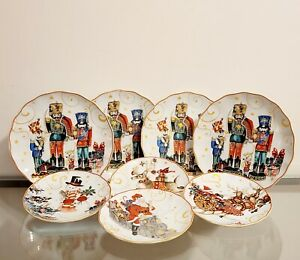 Williams Sonoma Twas the Night Before Christmas Dinner & Salad Plate Set of 8