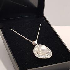 ciondolo originale vero argento sterling NUOVA Perle finte Diamante su 45.7cm cm