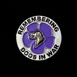 PURPLE POPPY - DOGS - REMEMBRANCE BADGE - SILVER                    (P19)
