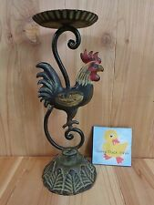 "ROOSTER CANDLE HOLDER 12"" Black Cast Iron For 3"" Pillar Candles"