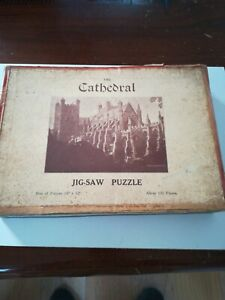 Chad Valley Wooden Jigsaw Puzzle 155 Pieces Cathedral/Railway Lines System V Old