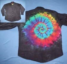 Tie Dye Swirl Dress Shirt 16.5 x 33 Mullet business front party back Black LS