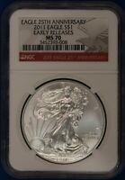 2011 American Silver Eagle. NGC MS70.  ET1632A/RH