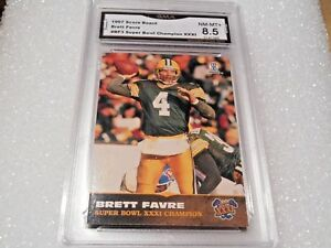 Brett Favre GRADED CARD!! 1997 Score Board #BF3 Insert Packers HOFer!! X-8.5