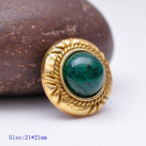 10X Brass Flower Engraved Green Bead Leathercraft Headstall Saddle Belt Conchos