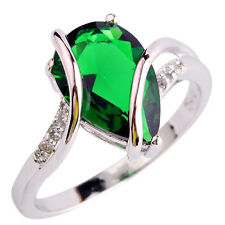 Fashion Jewelry Pear Cut Emerald & White Topaz Silver Men Ring Size L N P R T