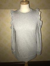 BNWT Miss selfridge Size 8 Grey Cold Shoulder Ruffle Sweatshirt / Jumper