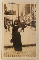 Real Photo RPPC ~ Lancaster PA Amish Woman On N. Queen St. Trolley Wagon Stores