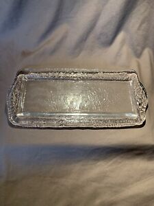 """""""Orion"""" Crate & Barrel Clear Recycled Glass Rectangular Plate Fire & Ice-Style"""