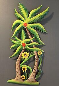 "Handcrafted HAITI Palm Tree Metal Art ~ 19"" Haitian Tropical Flower Wall Decor"
