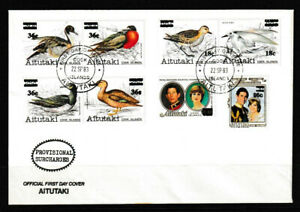 Aitutaki 1983 Bird/Royalty Series Of 1981-82 Surcharged Stamps FDC - Mint
