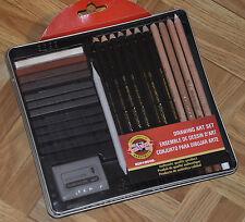 KOH-I-NOOR Drawing Art Set Tin: Pencils/ Blocks/ Charcoal/ Eraser SEALED NEW!!
