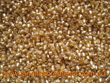 20 grams, 3.6mm Silver Lined Seed Beads - GOLD