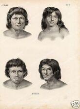 Brésil Portrait Indiens Puris Lithographie Rugendas 19e