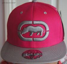 Ecko Unltd Snapback Caps, Pink/Grey flat peak fitted hats, hip hop baseball brim