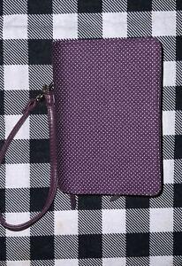 NEW Thirty-One Everyday Wallet Wristlet Polka Dot~Plum Purple
