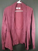 Cati Womens Burgundy Ooen Front Long Sleeve Cardigan Size Small