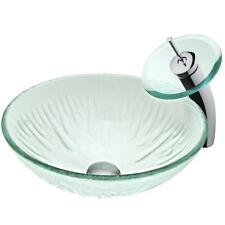 VIGO Vessel Sink, Faucet, Drain Set Clear Tempered Glass Vessel Round set