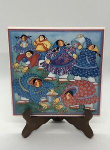 "VTG Barbara Lavallee Artist Alaska ""A Berry Gathering""  6"" Tile Trivet 1995"