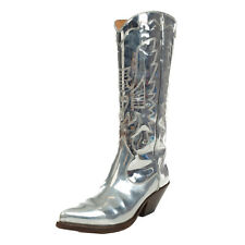 RRP€400 BUTTERO Leather Western Boots EU37 UK4 US7 Metallic Effect Made in Italy