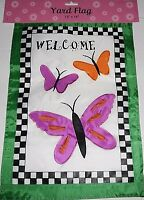 "Decorative Garden Flag 12"" x 18""  WELCOME  BUTTERFLIES"