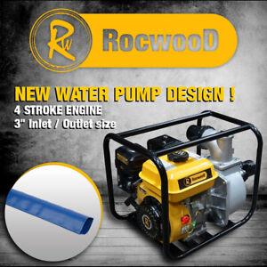 """Petrol Water Pump 3"""" 6.5HP 4 Stroke Engine RocwooD Plus 3"""" Layflat Hose"""