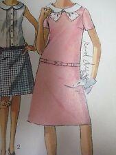 Vtg 1960's Simplicity 6489 DRESS w/ DROP WAIST ROUND COLLAR Sewing Pattern Teen