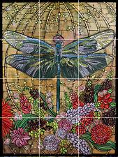 tiffany window dragonfly garden flower fine art ceramic tile mural backsplash
