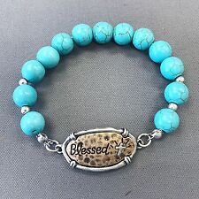 Silver Gold Blessed Statement Turquoise Stone Beads Stretchable Bangle Bracelet