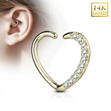 14K Solid GOLD Jeweled Heart Daith Cartilage Helix EAR RINGS Piercing Jewelry