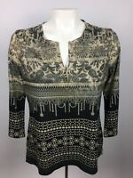 Chico's Womens Sz 0 3/4 Sleeve Tunic Blouse Paisley Rhinestones Brown Black