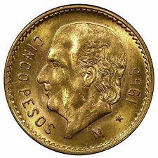 1955 Mexico 5 pesos Gold coin BU. .1205 fine gold